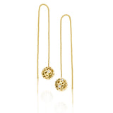 14k gold threader earrings, solid gold ball threader earrings with open work and diamonds