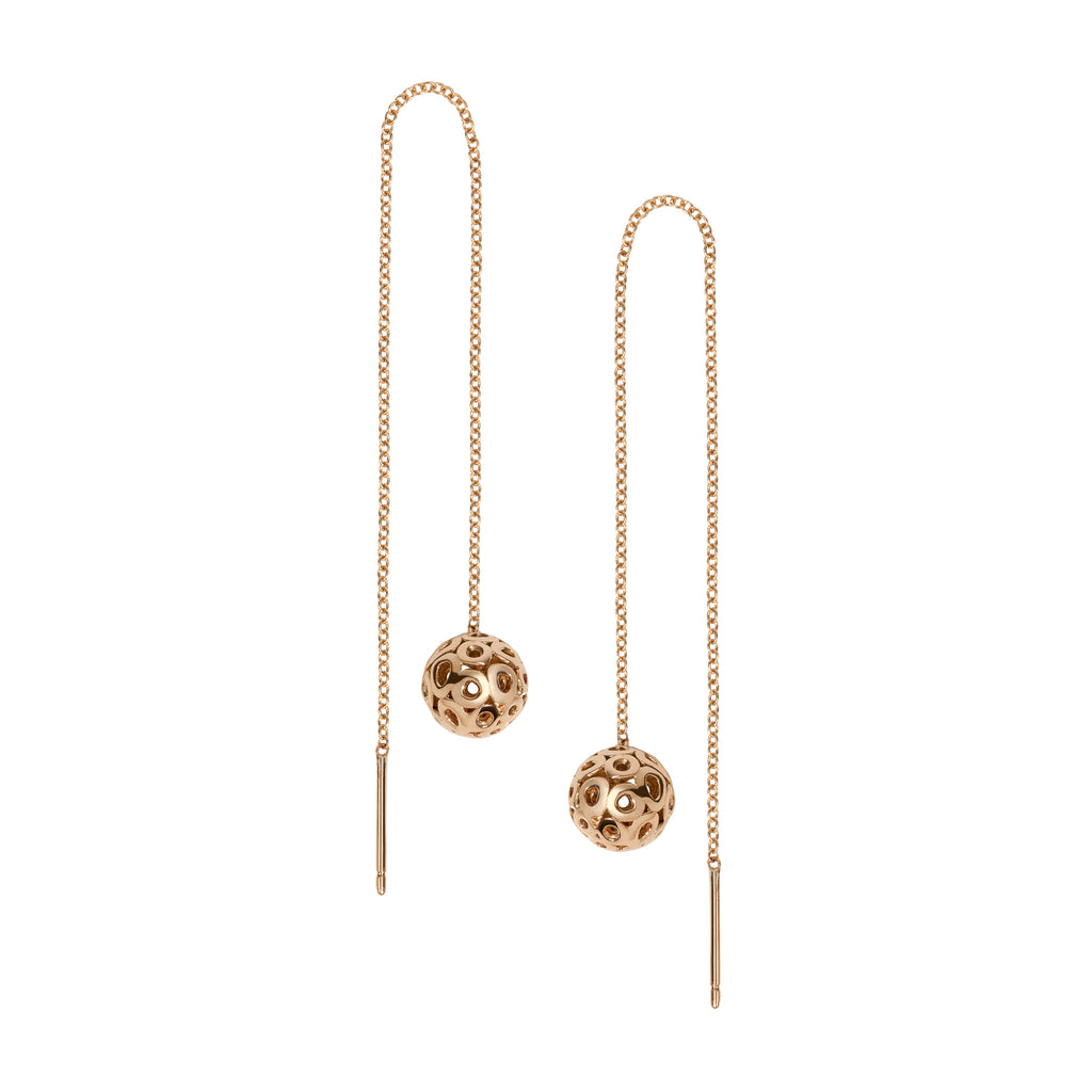 14k gold threader earrings, solid gold ball threader earrings with open work