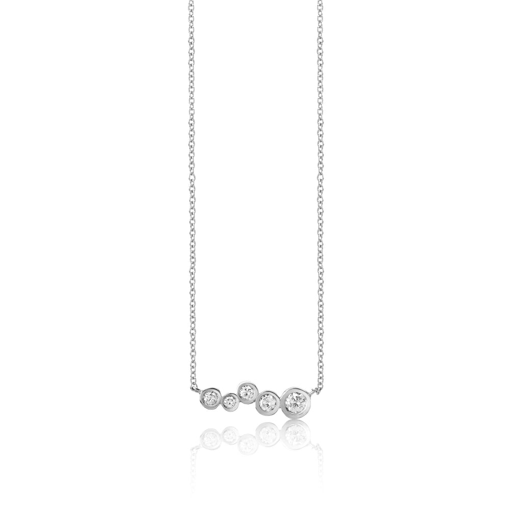 14k white gold diamond bar pendant, white gold tapered diamonds pendant