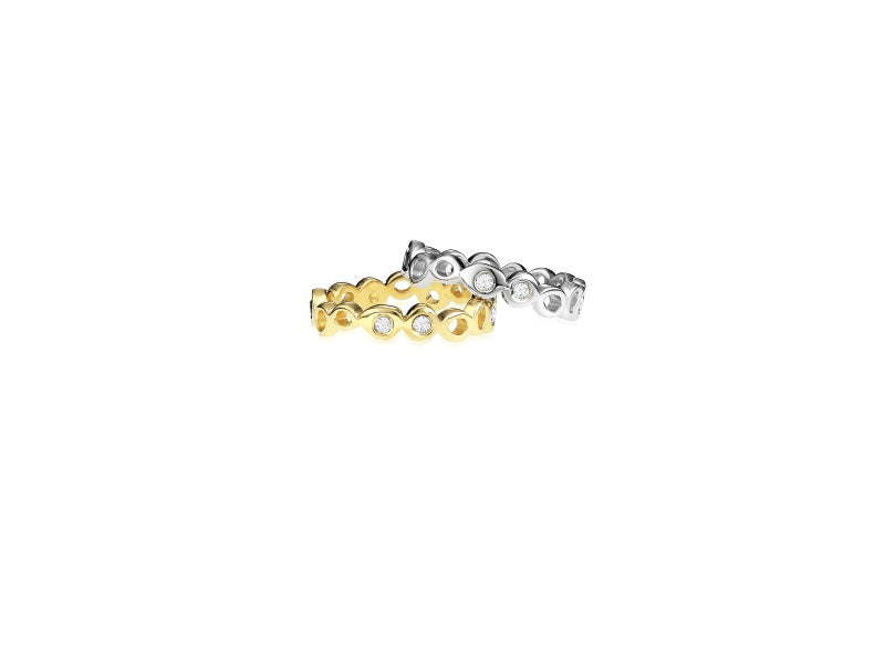 14k gold white diamond ring, gold ring band with scattered diamond stones, stackable ring band