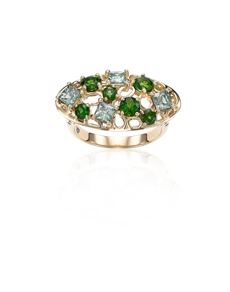 Statement cocktail ring, Green sapphire, Chrome Diopside, 14k gold