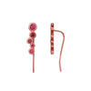 Tonal Red Shadows Climber Earring with Ruby Stones