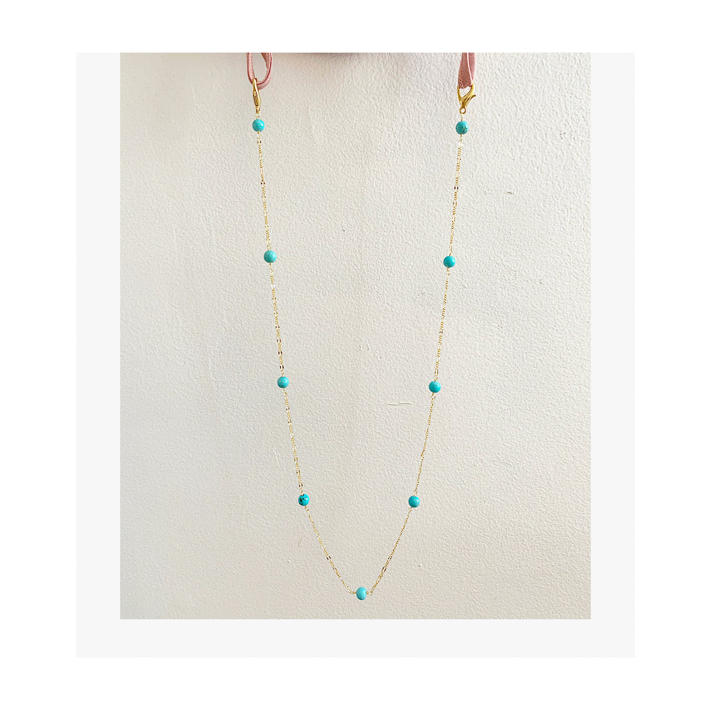 turquoise chain, mask chain, gold color