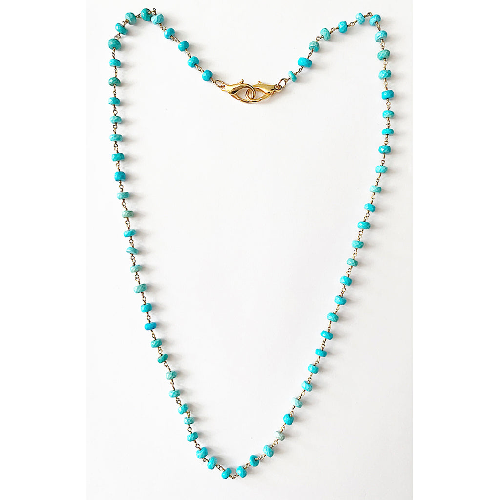 Turquoise vermeil rosary mask chain, mask chain