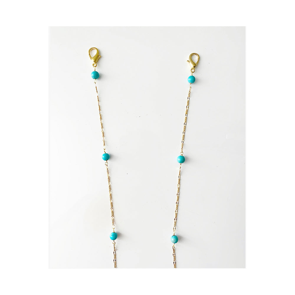 Turquoise bead station Face Mask chain