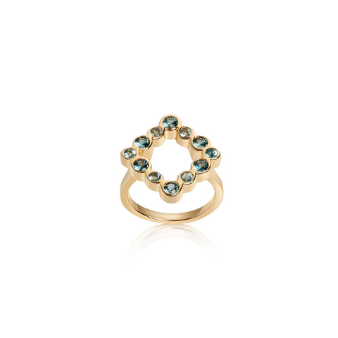 Connected Rolling Ring Bands with Paraiba Tourmaline