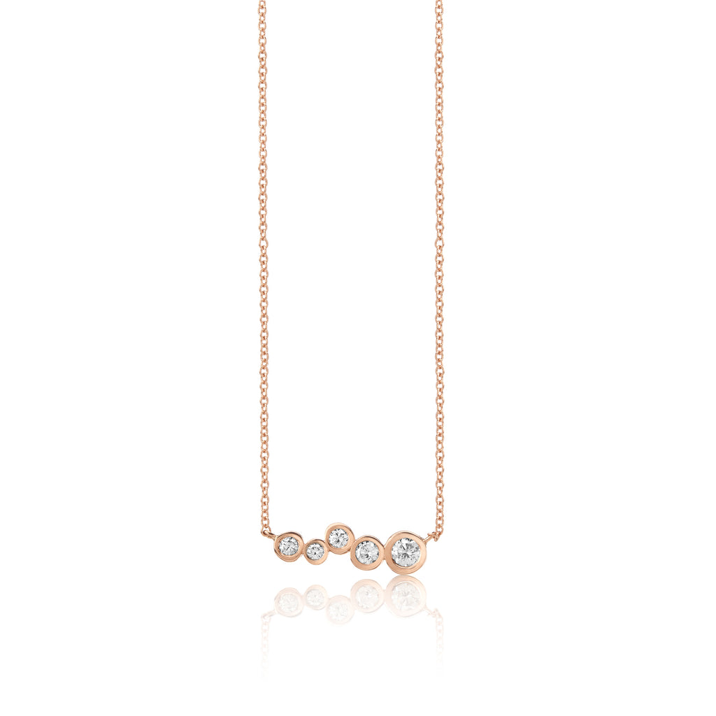 14k rose gold diamond bar pendant, tapered diamonds chain necklace