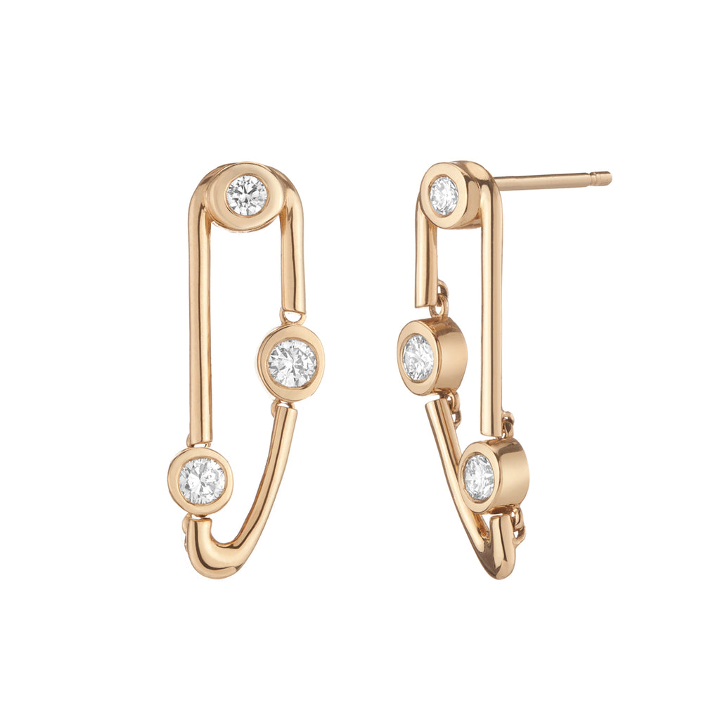 14k gold left and right diamond earrings, solid gold contemporary statement earrings with diamonds