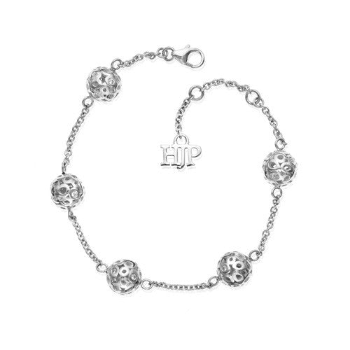 sterling silver spheres with diamonds station bracelet, open work detail link bracelet, 14k white gold bracelet with diamonds