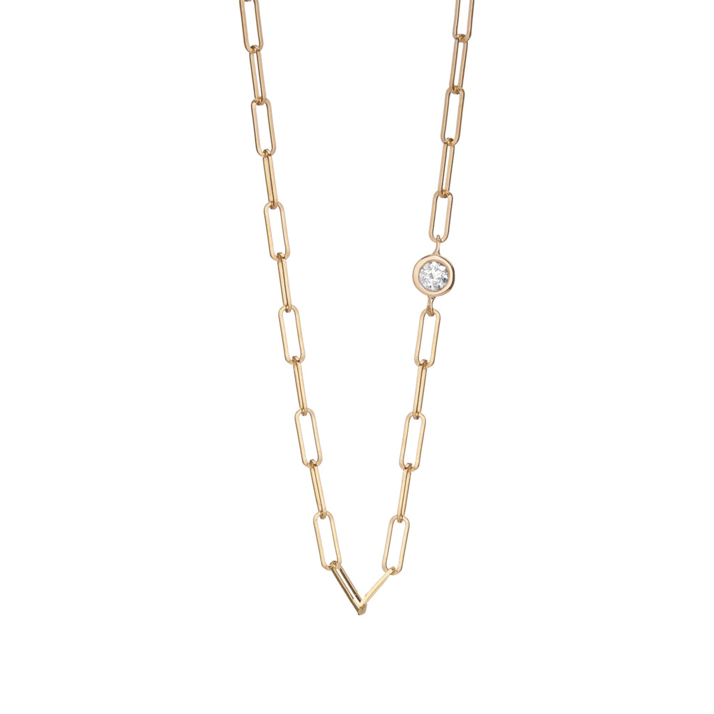 14k gold paperclip chain with floating diamond, rectangle link gold chain with bezel set diamond, 14k gold chain