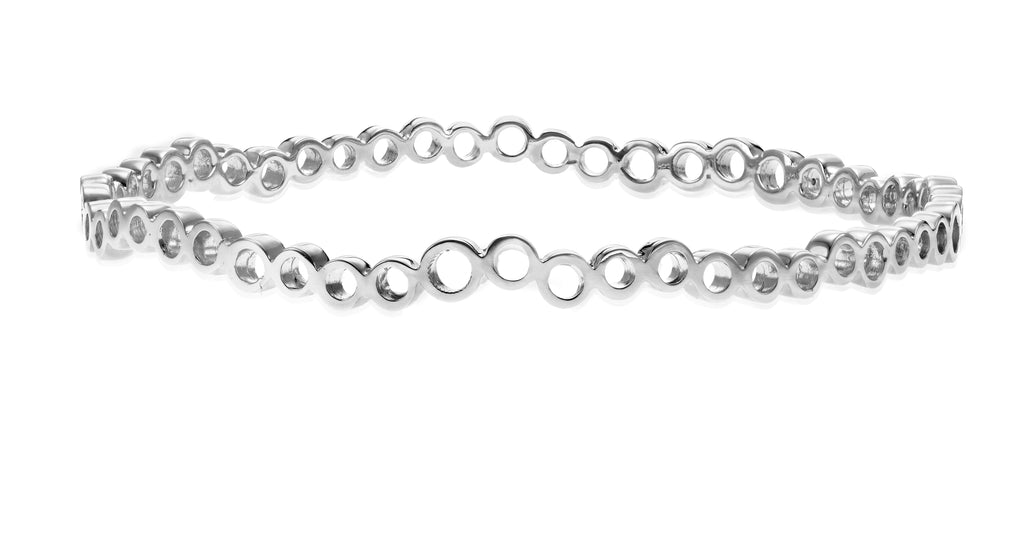 Pebbles Bangle Rhodium