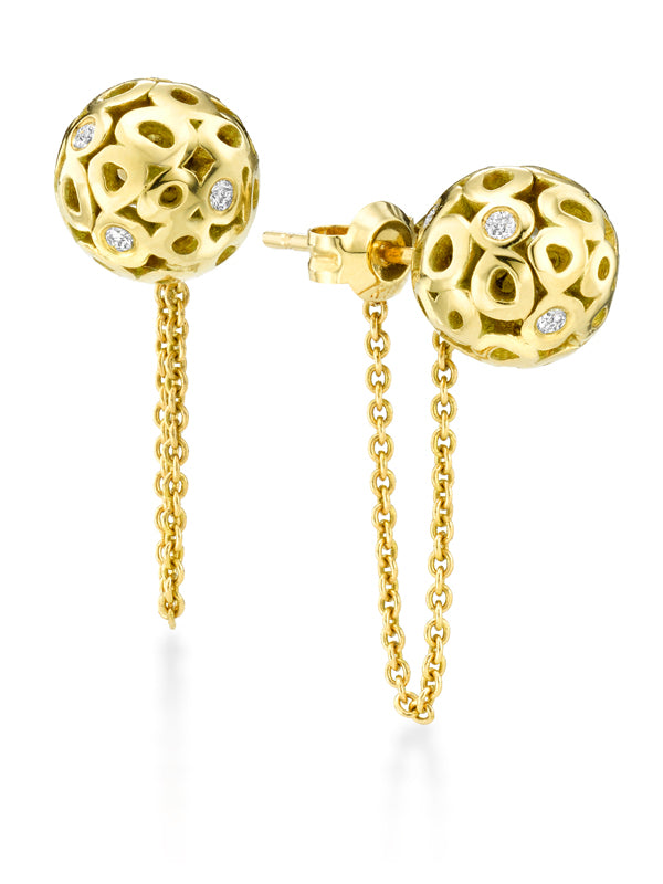 14k gold ball front back earrings with diamonds, 14k gold front back earrings with chain, 14k gold sphere earrings with diamonds