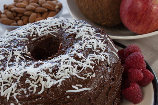 Chocolate Apple Raspberry Frosted Ring Cake