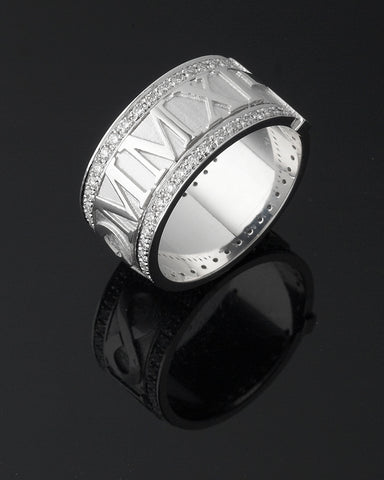 Diamond Men's Wedding Band With Roman Numerals and Cross. Wide Men's Wedding Band.