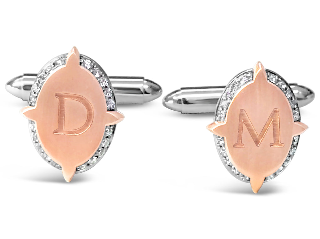 18ct White - Rose Gold Diamond Initial Cuff Links