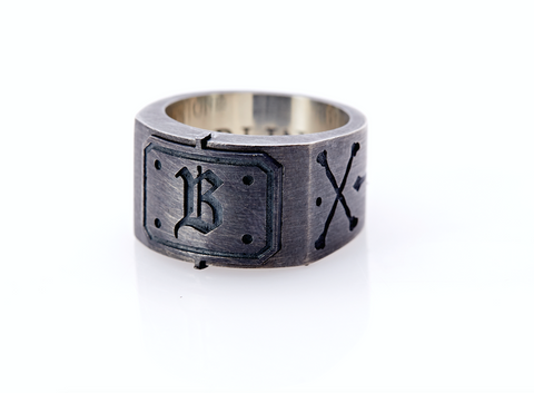 Oxidised Sterling Silver Initial / Cross - Bones Ring (B)