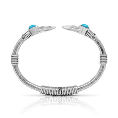 Arrow stone bangle - Steel & Turquoise