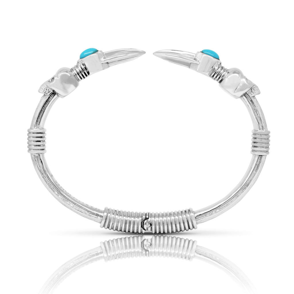 Skull Arrow Stone Bangle - Steel & Turquoise