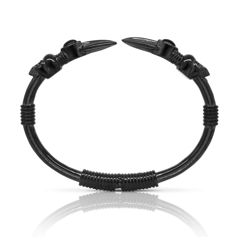 Skull Arrow Stone Bangle - Black Steel & Onyx
