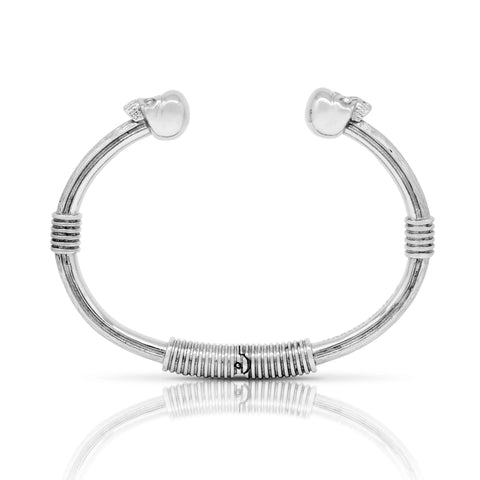 Double Skull Bangle - Steel