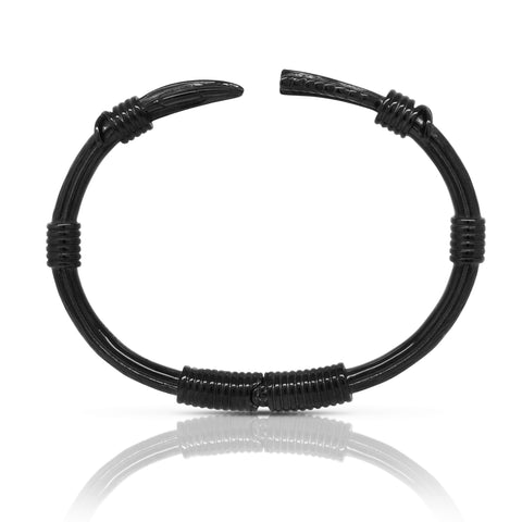 Feather Arrow Bangle - Black Steel