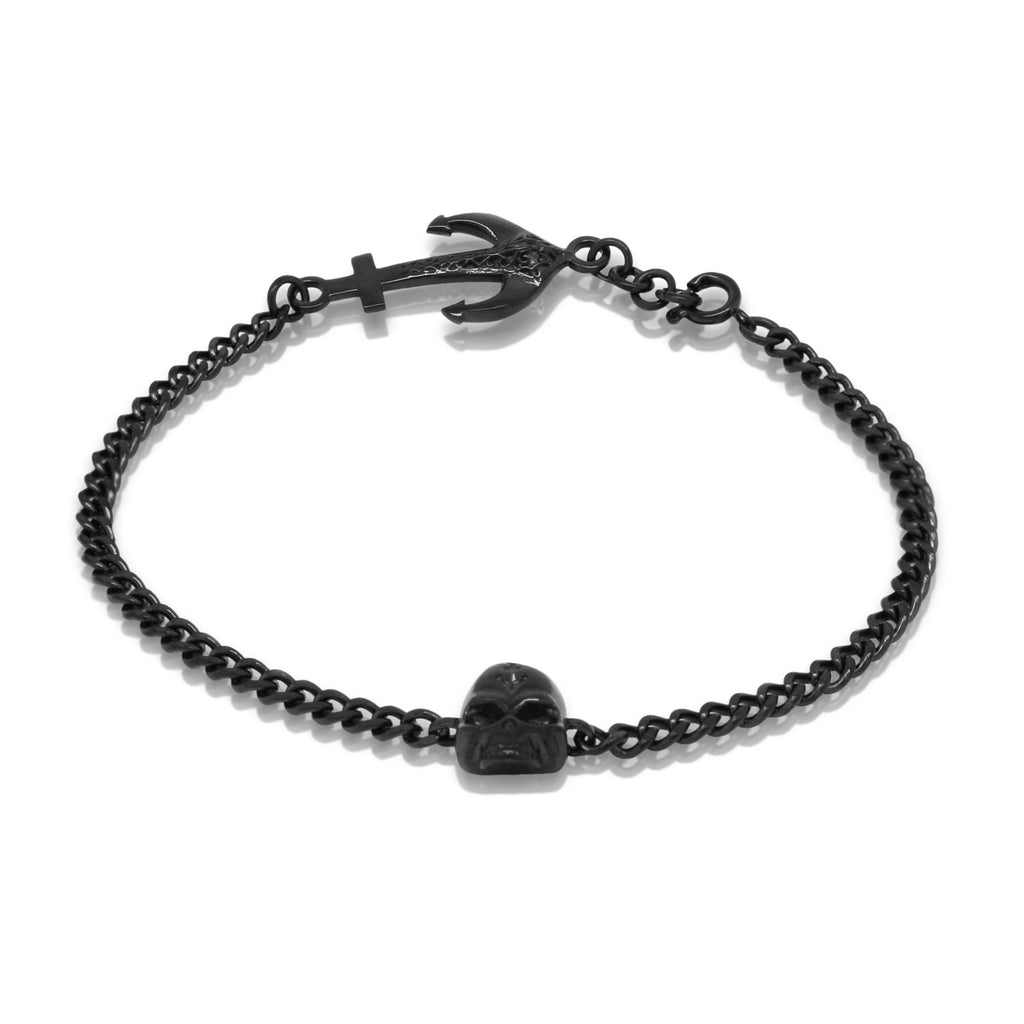 Skull anchor bracelet - Black steel