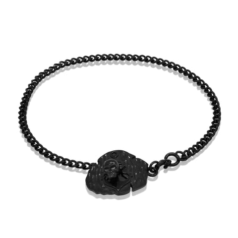 Anchor plate bracelet - Black steel