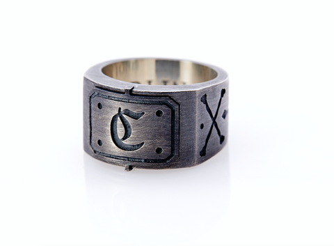 Oxidised Sterling Silver Initial / Cross - Bones Ring (C)