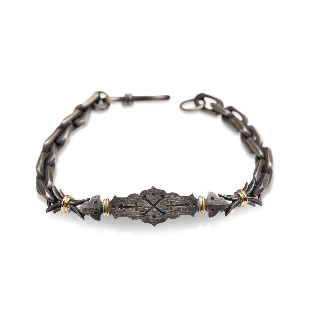 18ct Yellow Gold - Oxidized Sterling Silver, Cross-Bones Linked Bracelet