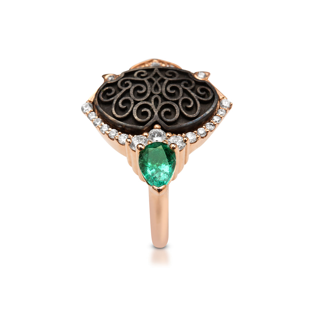 18ct Rose Gold - Oxidized Silver Emerald - Diamond Ring