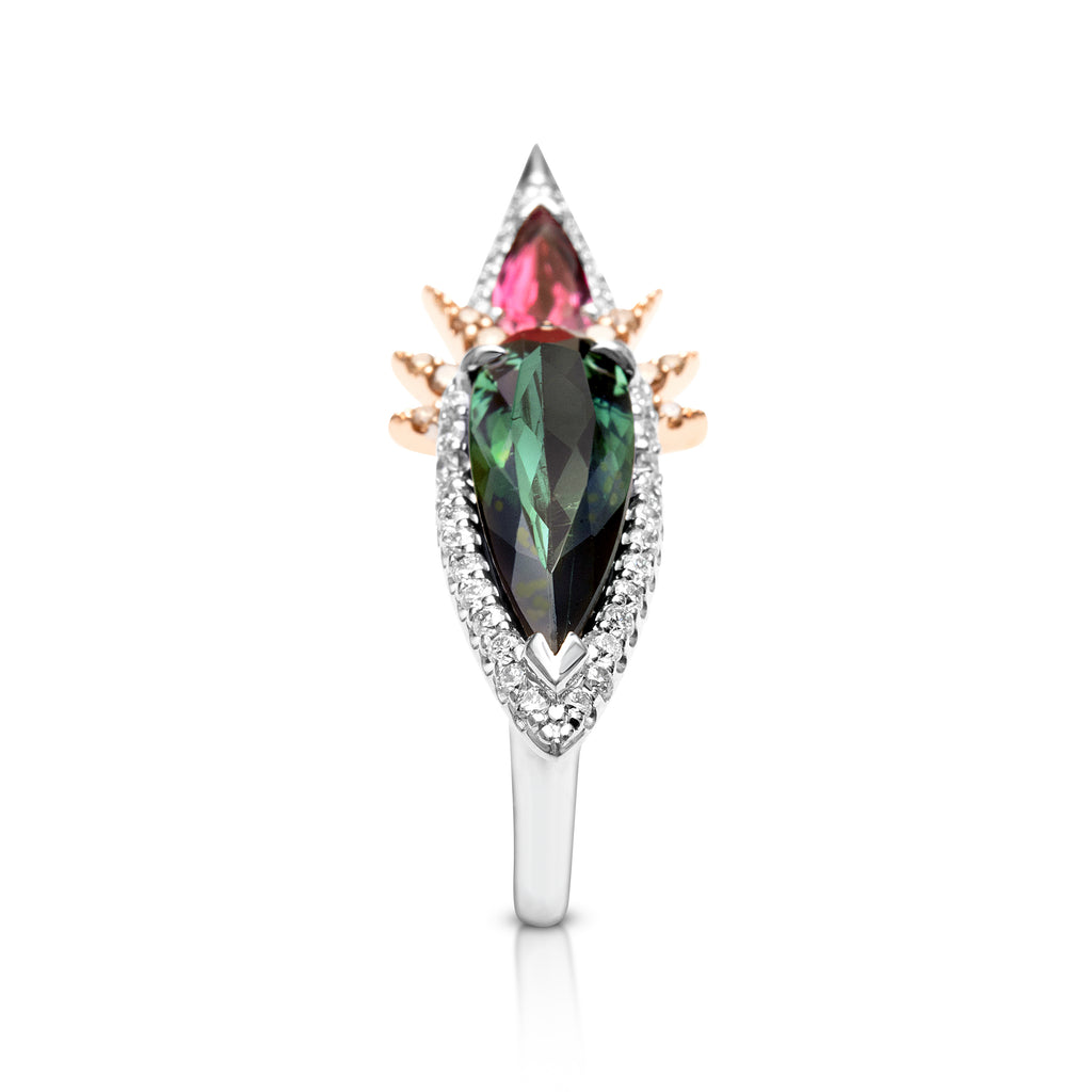 18ct White - Rose Gold Tourmaline - Diamond - Cognac diamond Ring