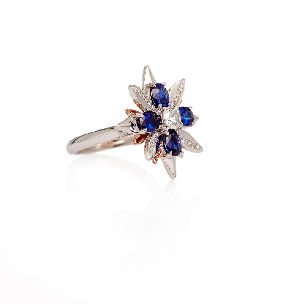 18ct White - Rose Gold Ceylon Sapphire - Diamond Petal Ring