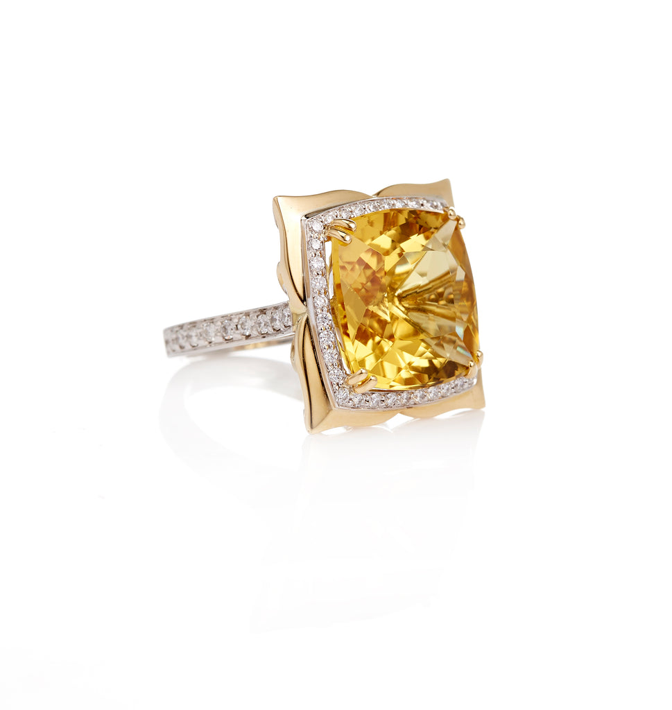 18ct White - Yellow Gold Golden Beryl - Round Brilliant Cut Diamond Ring