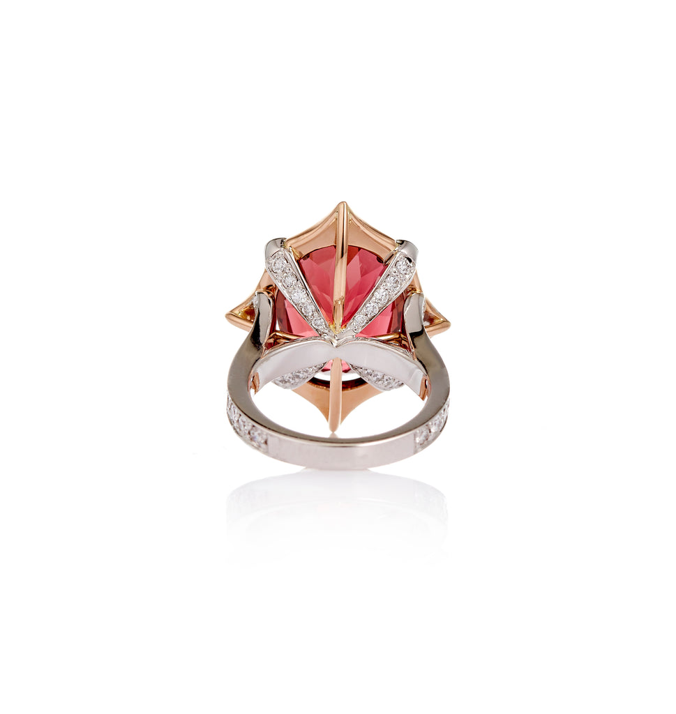 18ct White - Rose Gold, Pink Tourmaline - Diamond Ring