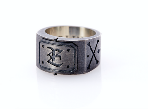 Black Ring. Mens Oxidised Silver Ring. Letter Ring
