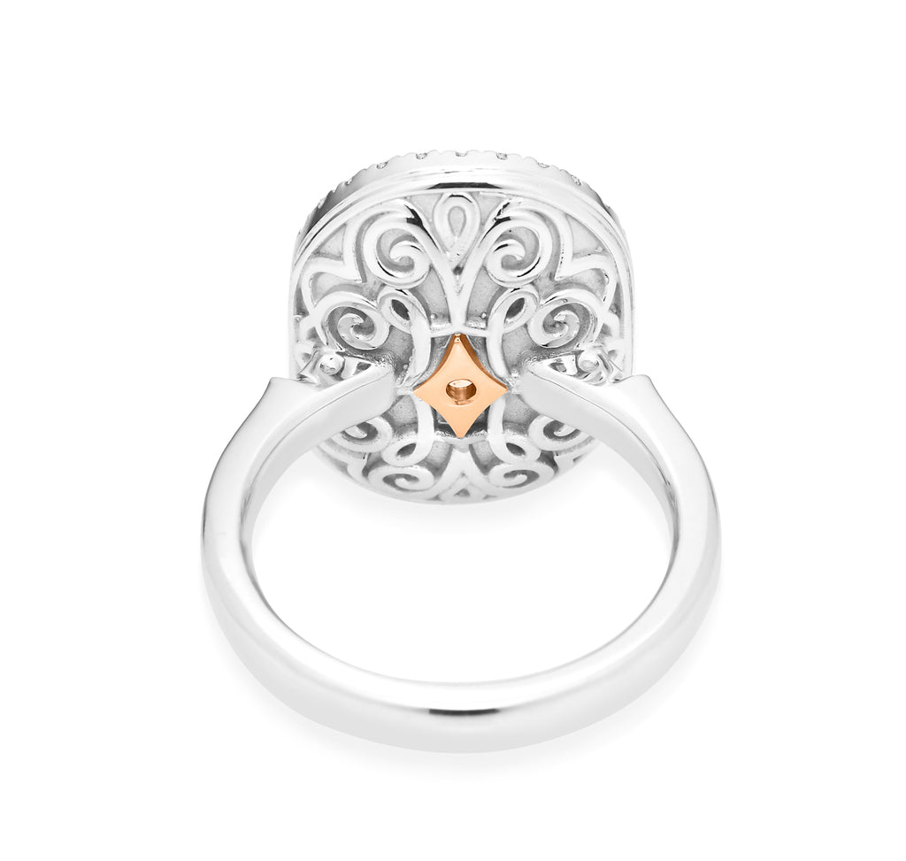 18ct White - Rose Gold slice Diamond Ring