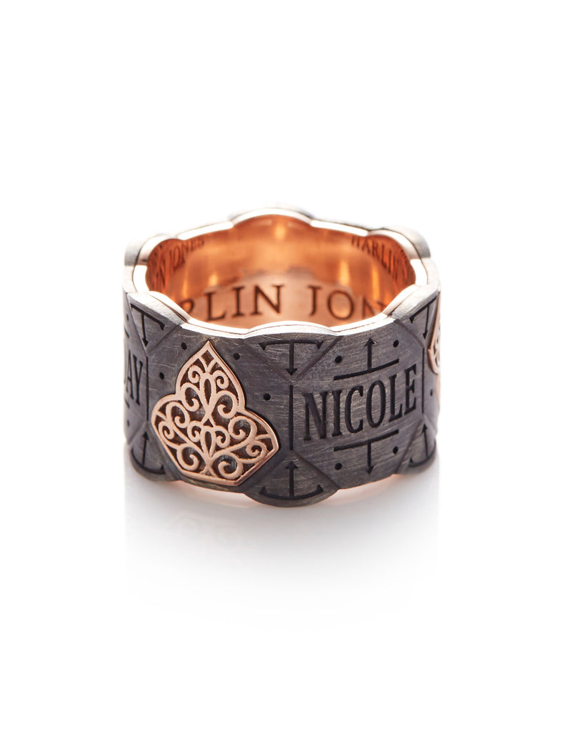 18ct Rose Gold - Oxidized Silver Wedding Band With Filigree Pattern