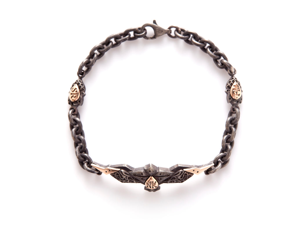 18ct rose gold - oxidized Silver Phoenix Bracelet