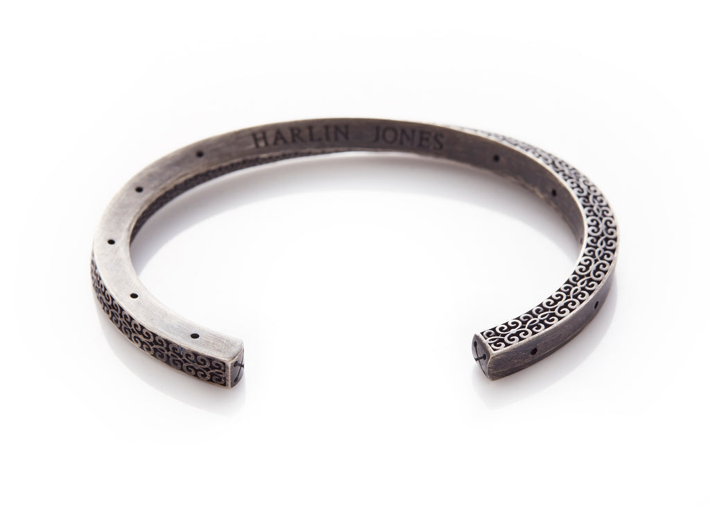Twisted Patterned Oxidised Silver Cuff