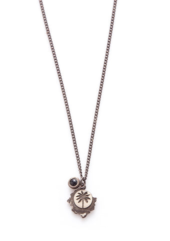 Oxidised Sterling Silver with Onyx Palm Tree Necklace