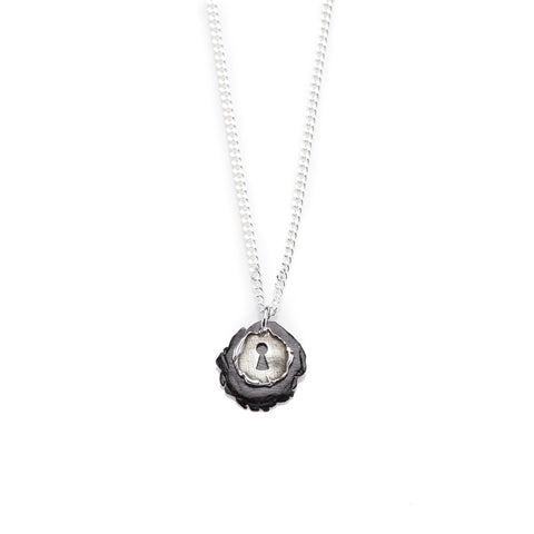 Keyhole Pendant Necklace - Polished Steel Chain