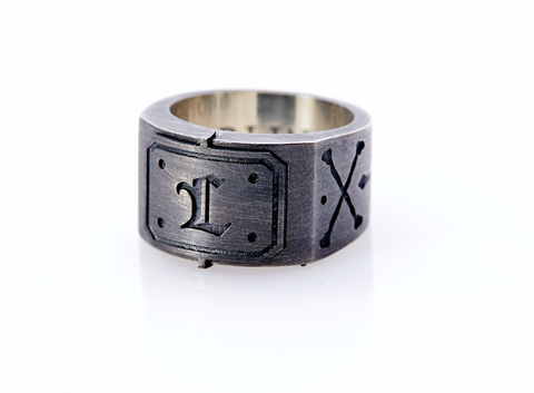 Oxidised Sterling Silver Initial / Cross - Bones Ring (L)