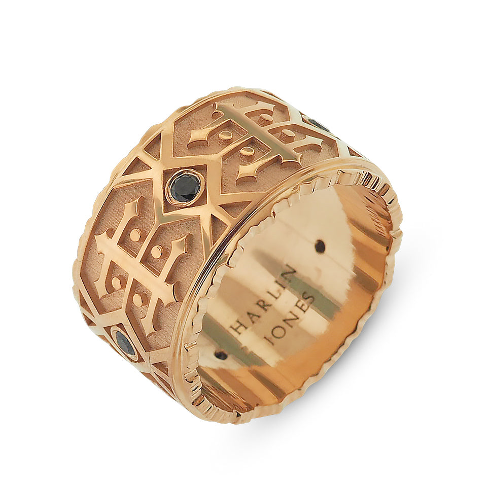 Men's Rose Gold Black Diamond Patterned Band