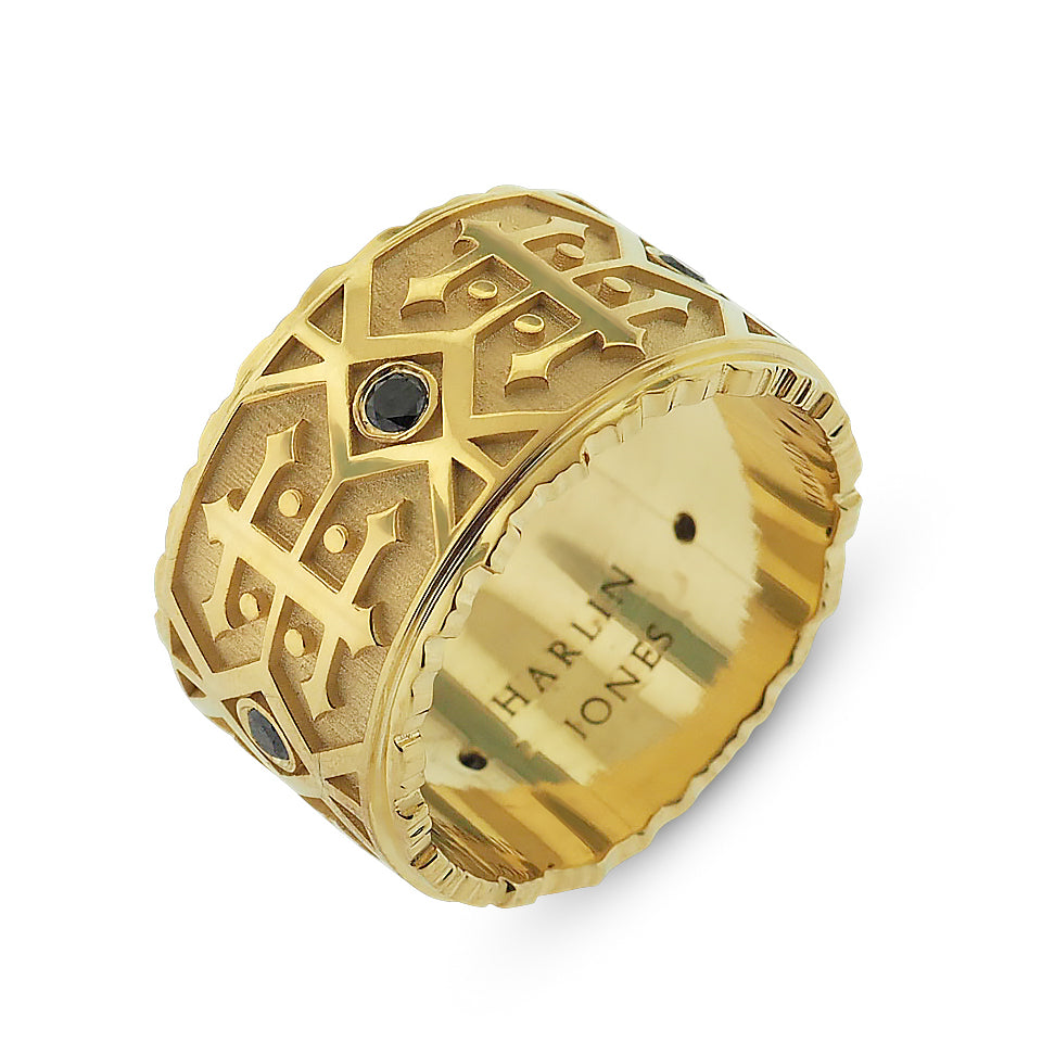 Men's Yellow Gold Black Diamond Patterned Band