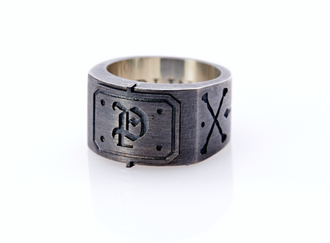 Oxidised Sterling Silver Initial / Cross - Bones Ring (P)