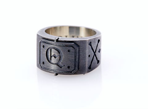Oxidised Sterling Silver Initial / Cross - Bones Ring (Q)