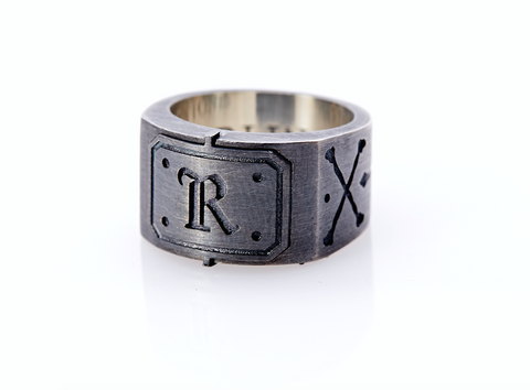 Oxidised Sterling Silver Initial / Cross - Bones Ring (R)