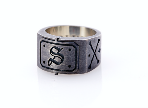 Oxidised Sterling Silver Initial / Cross - Bones Ring (S)