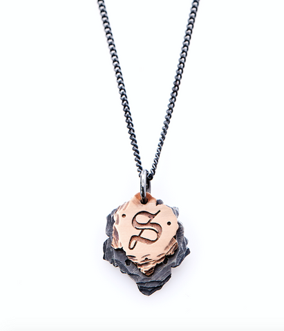 Letter S Necklace. Designer Necklace. Rose Gold Initial Necklace