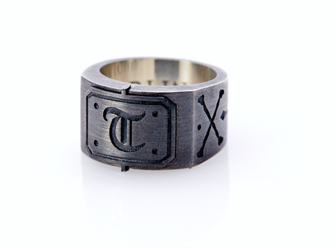 Oxidised Sterling Silver Initial / Cross - Bones Ring (T)